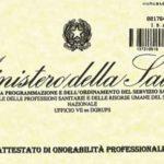 Certificato di onorabilità professionale rilasciato dal Ministero della Salute